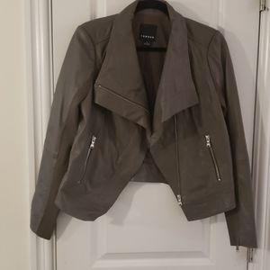 Trouve gray drape collar leather jacket